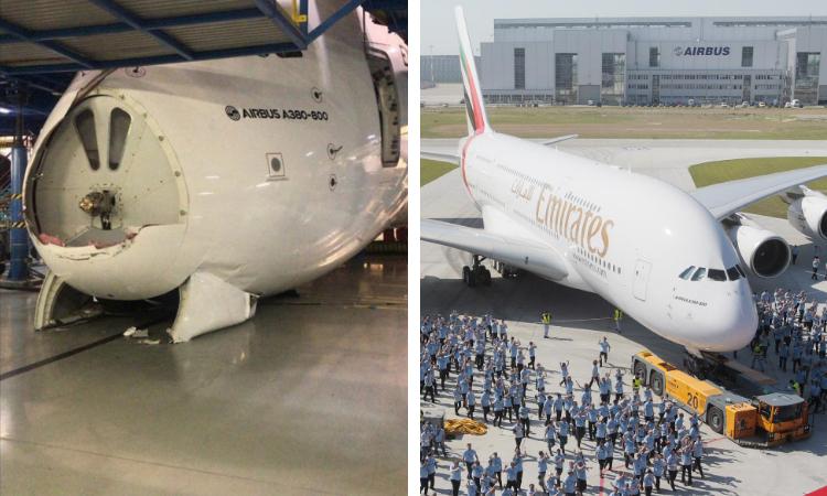 Emirates A380 Hangar Damage DXB Hangar