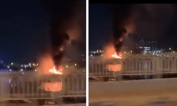 Dhow boat Sharjah flames