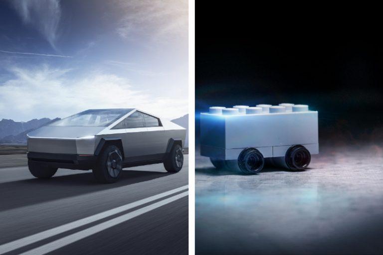 Lego Cybertruck Tesla Elon Musk Dubai Police ATV vehicle troll memes