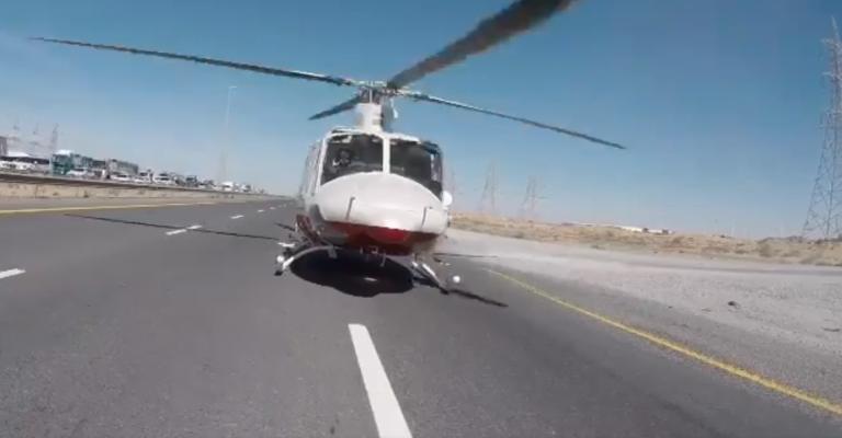 UAE Ministry of Interior Highway Helicopter Ambulance Paramedics Injured Motorist