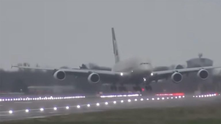 Etihad plane lands sideways