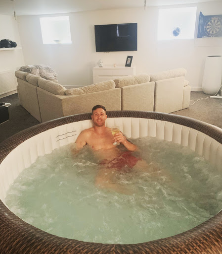 Jacuzzi in his living room during lockdown