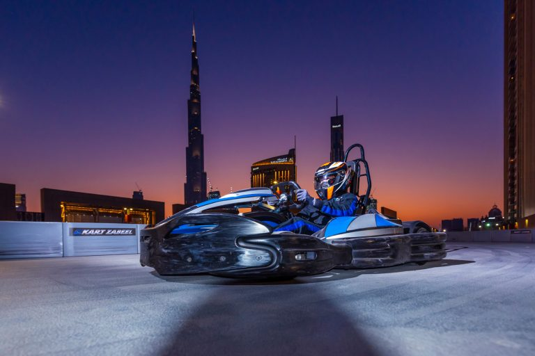 You can now race go karts on the Dubai Mall roof