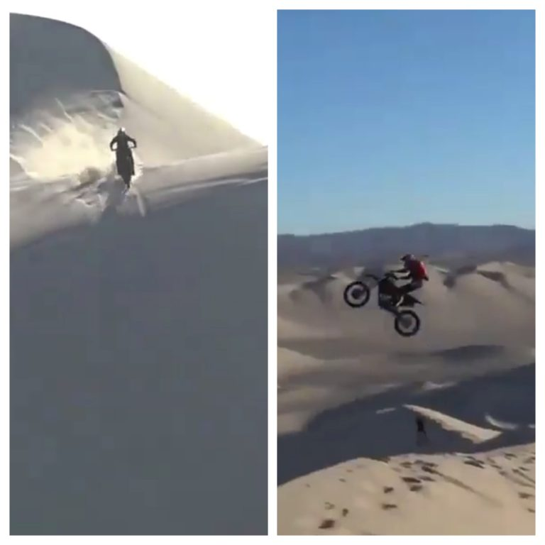 This next-level desert motorbike stunt is like something from a James Bond film