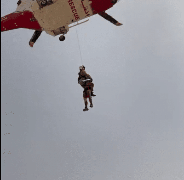 Dramatic UAE helicopter rescue as tourist falls off mountain