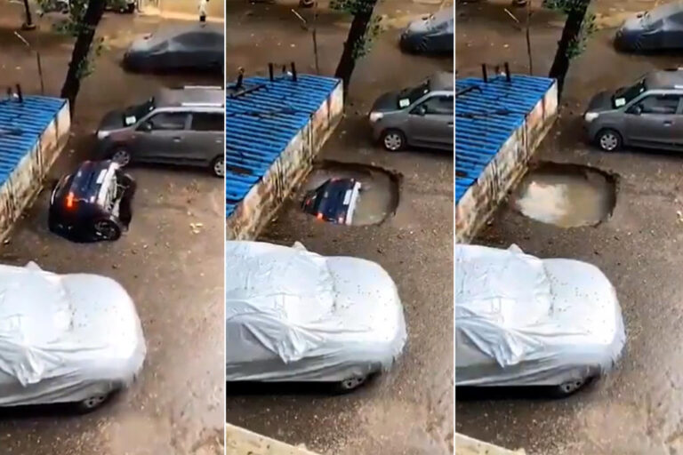 The terrifying moment a Mumbai car disappears into a sinkhole
