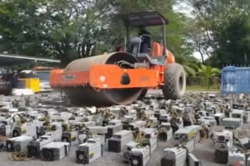 Malaysian Police force seize 1,069 Bitcoin mining rigs before destroying them in a steamroller