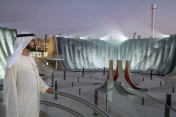 The amazing Expo 2020 Dubai fire and water fountain that defies gravity